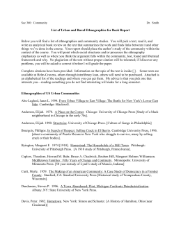 Community Ethnography List