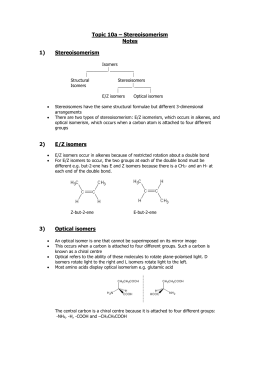 Topic 3 – Chemical Structure and Bonding