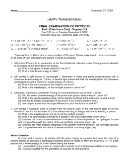 Take Home Exam 2002 - Physics