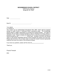 Letter from PT and Physicians` Physical Therapy Orders