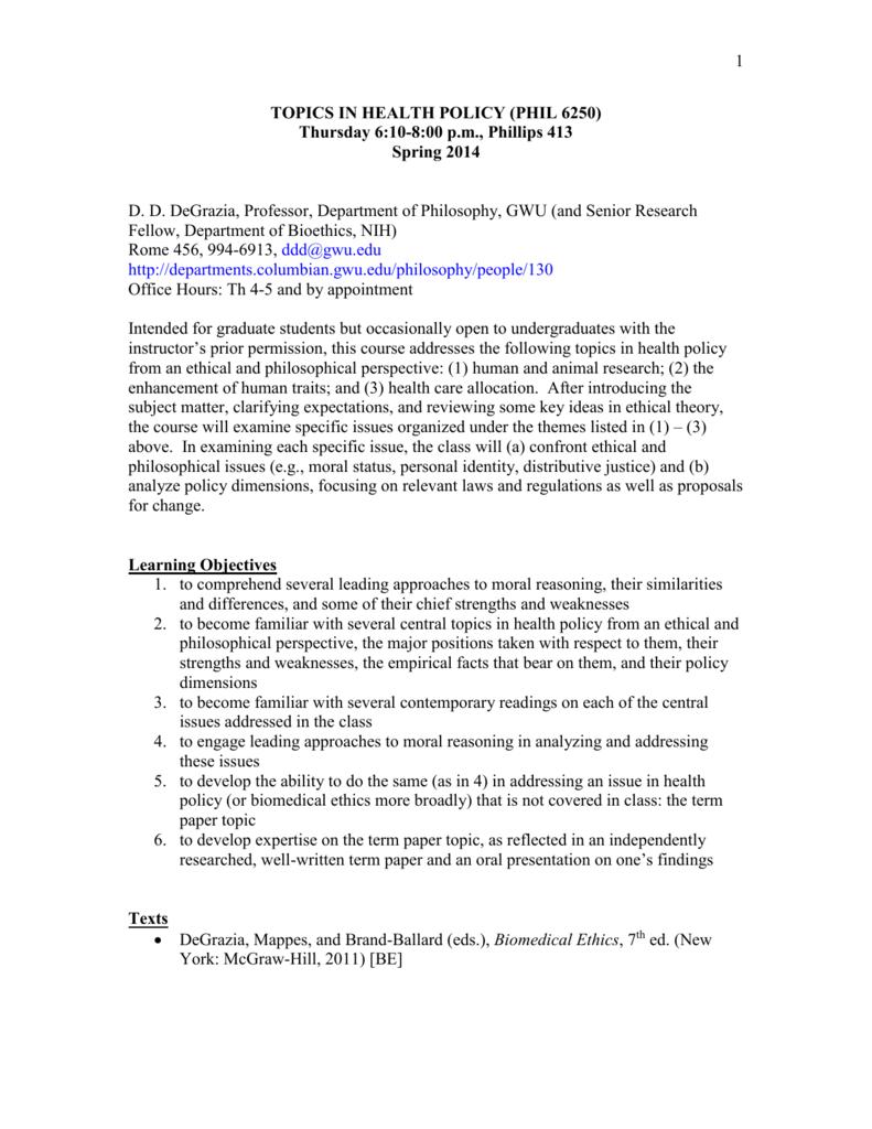 bioethics paper topics