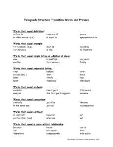 Expository Paragraph Structure Transition Words and Phrases