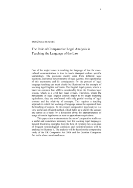 The Use of Comparative Legal Analysis in Teaching the Language