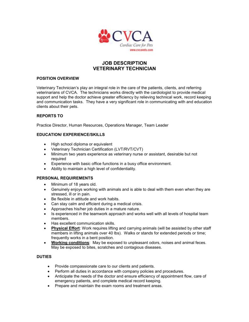 Job Description Veterinary Technician Position