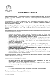 Food Allergy Policy