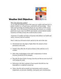 Weather Unit Objectives
