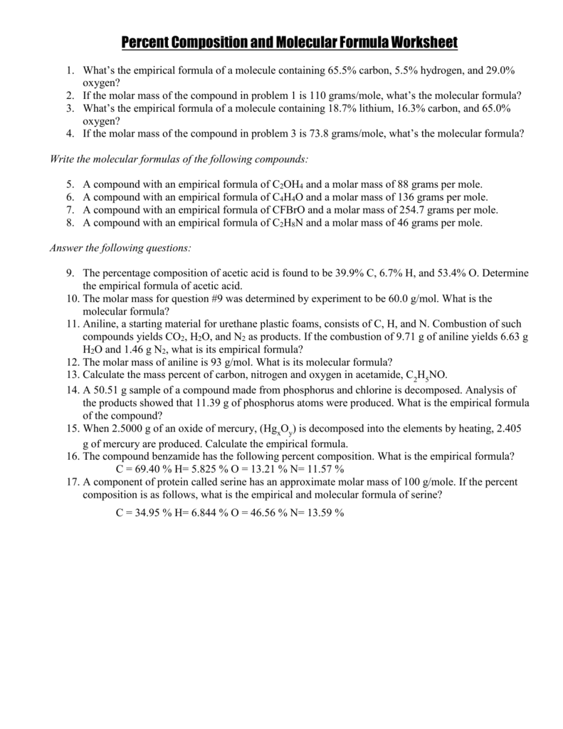 Percent Composition and Molecular Formula Worksheet – Grams to Moles Worksheet