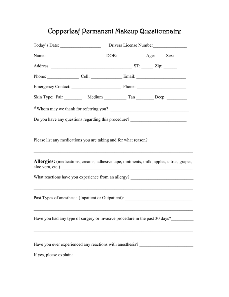 Copperleaf Permanent Makeup Questionnaire