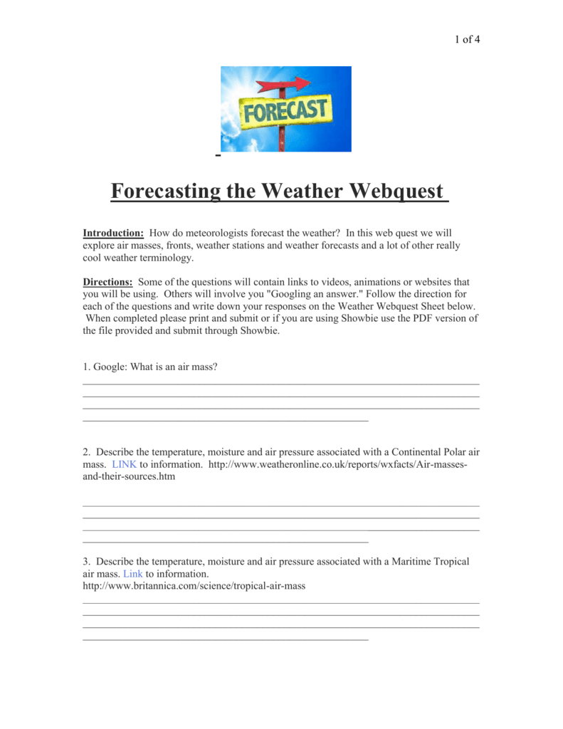 All Grade Worksheets Forecasting Weather Map Worksheet 1 All – Weather Forecast Worksheet