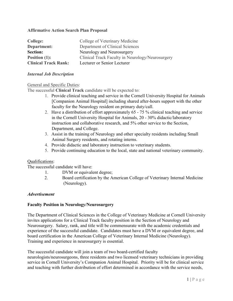 Affirmative Action Search Plan Proposal