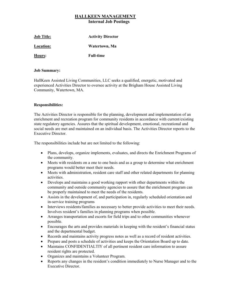 Hallkeen Management Internal Job Postings Job Title Activity