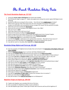 The French Revolution Study Guide The French Revolution Begins
