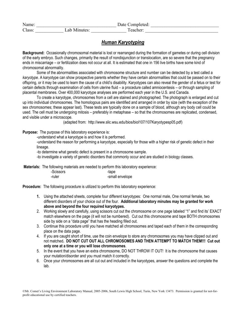 human karyotyping activity lab 14 rh studylib net mr comet living environment laboratory manual answers mr comet living environment laboratory manual answers