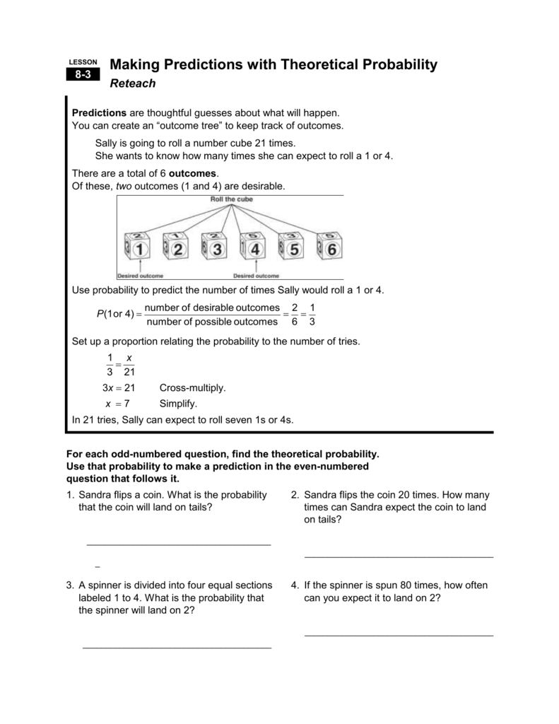Worksheets Theoretical Probability Worksheet 8 3 teacherpage