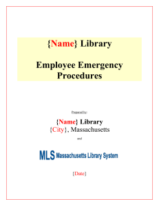Library Employees Emergency Response Procedures TEMPLATE