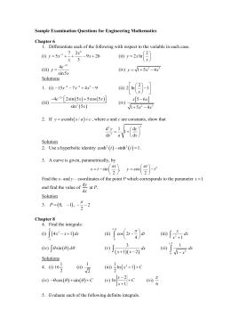 Sample Examination Questions for Engineering