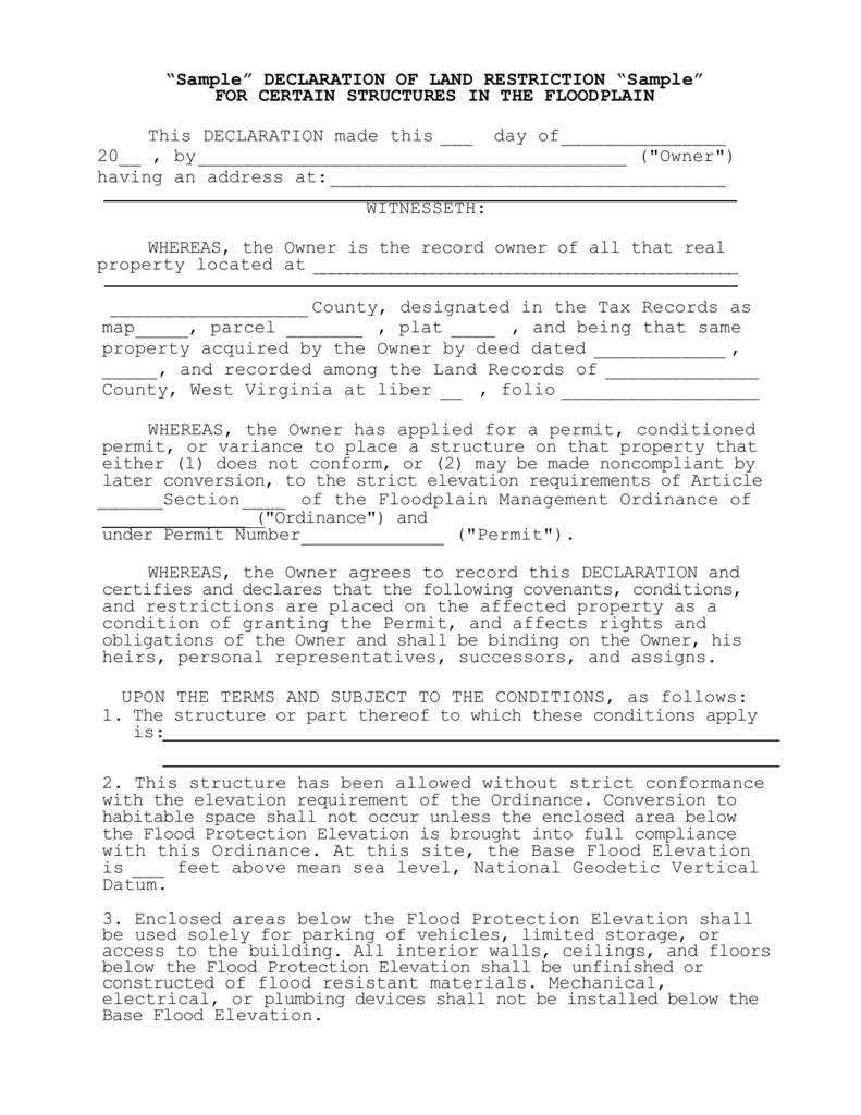Sample Deed Restriction - Elevation level by address