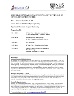 Nanotechnology Seminar & Optoelectonics Centre Program