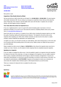 Letter to parents June 2015 Ofsted
