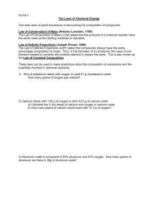 SCH3U Laws of Chemical Change note and practice questions