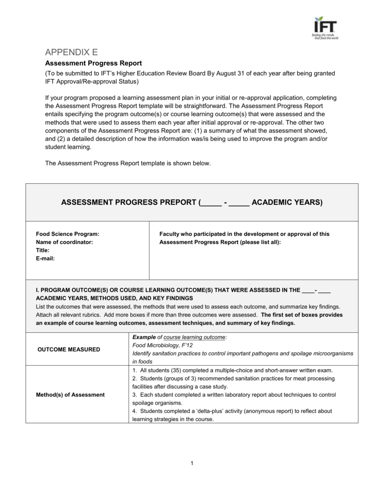 study progress report sample