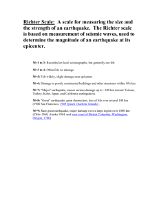 Richter Scale: A scale for measuring the size and the strength of an