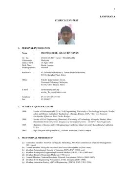 curriculum vitae universiti teknologi malaysia