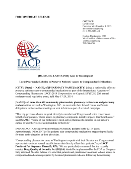for immediate release - International Academy of Compounding
