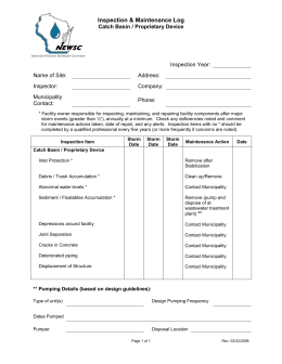 Catch Basin / Proprietary Device Inspection & Maintenance Log
