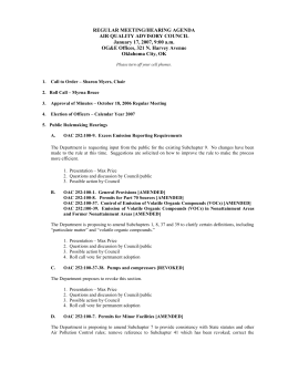 Jan. 17 Air Quality Advisory Council Hearing Agenda