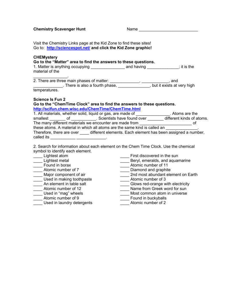 Chemistry Scavenger Hunt Name – Scavenger Hunt Worksheet