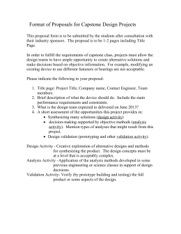 Format of Pre-Proposals for Capstone Design Projects