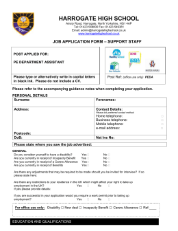 Application form - Teaching