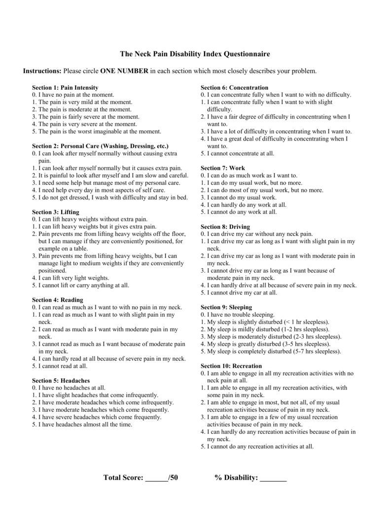 Neck Pain Disablility Index Questionnaire