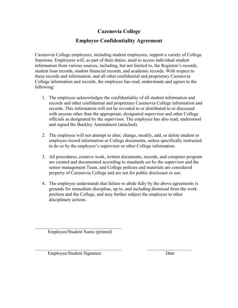 Employee Confidentiality Agreement Forms – Employment Confidentiality Agreement