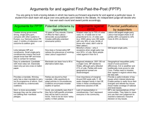 Arguments for and against First-Past-the-Post (FPTP)