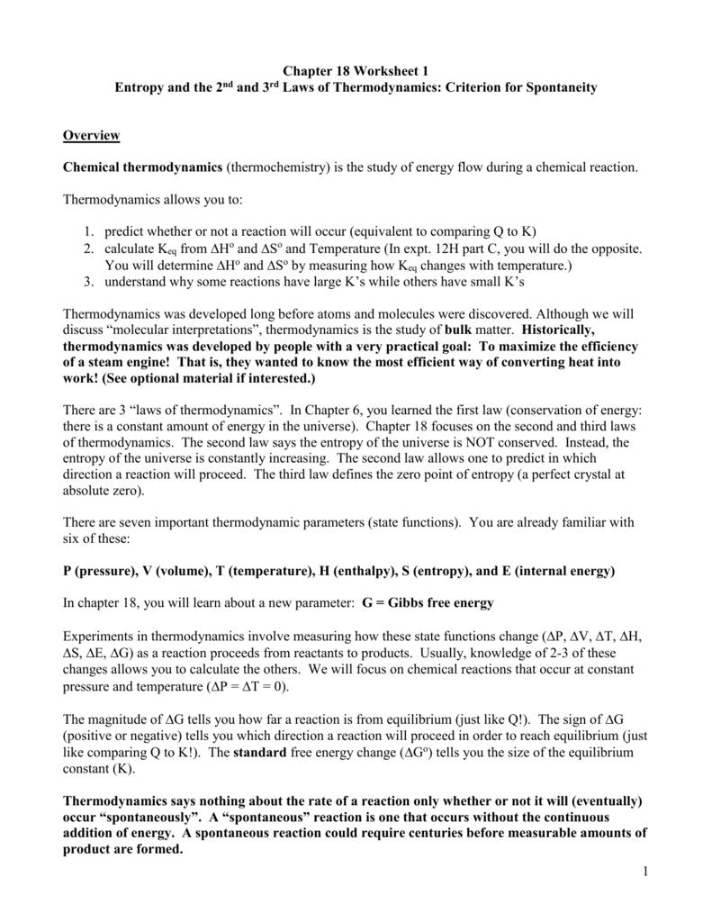 Key to ws181 – Entropy Worksheet