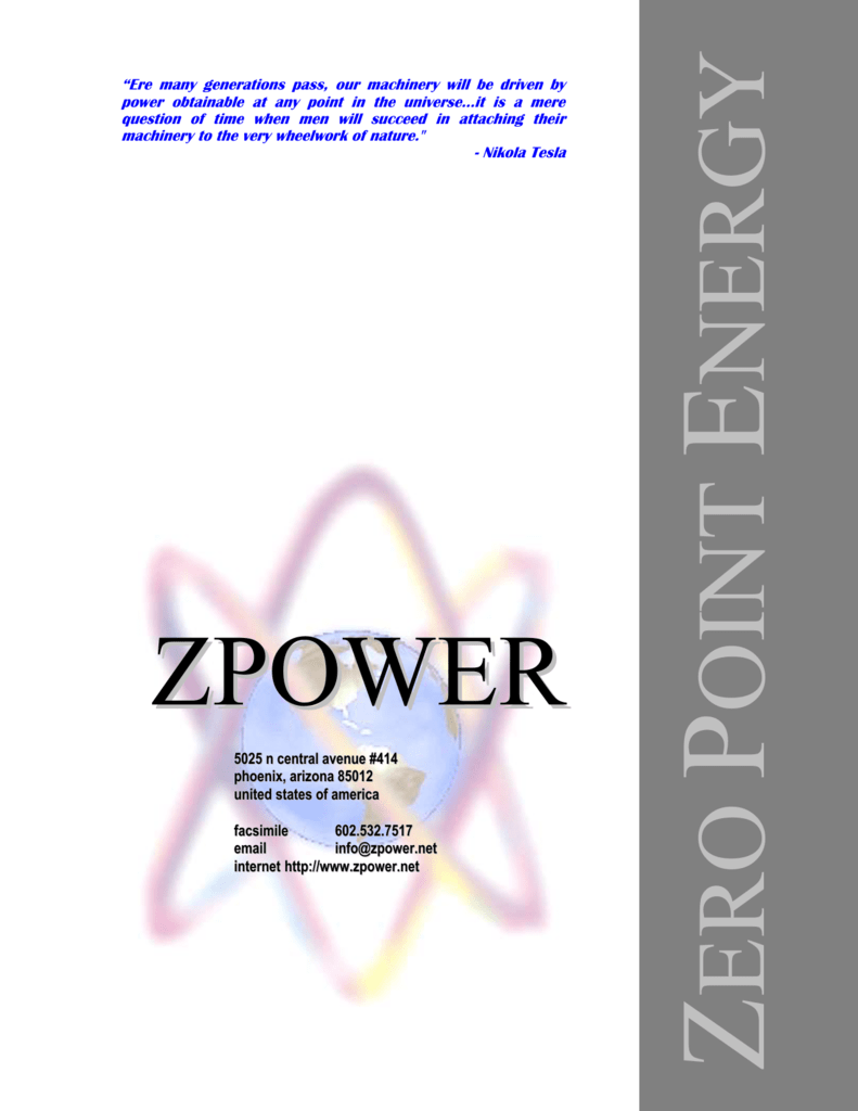 Zero Point Energy - ZPower Corporation on
