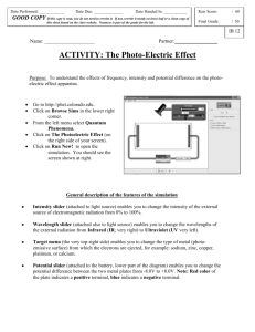 Photoelectric Effect Virtual Lab