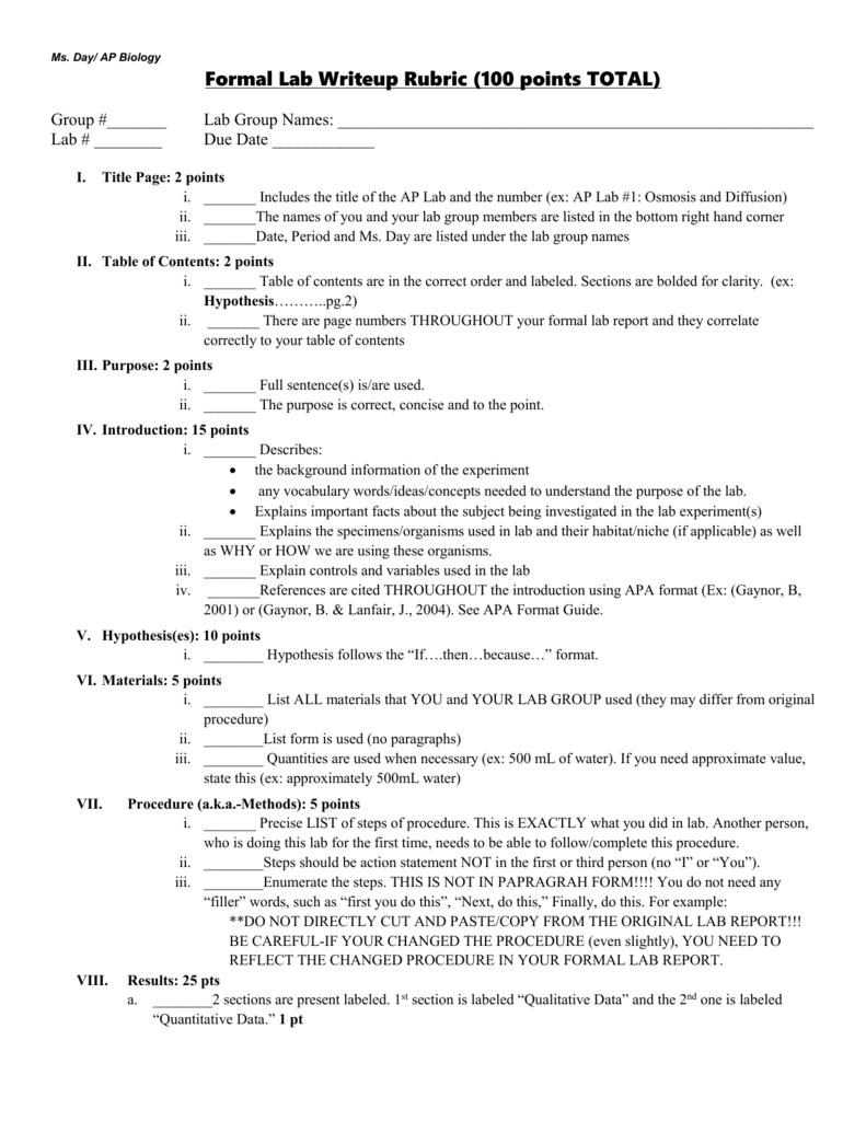 Biology Lab Report Rubric