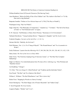 BBNAN01300 The History of American Literature Reading List