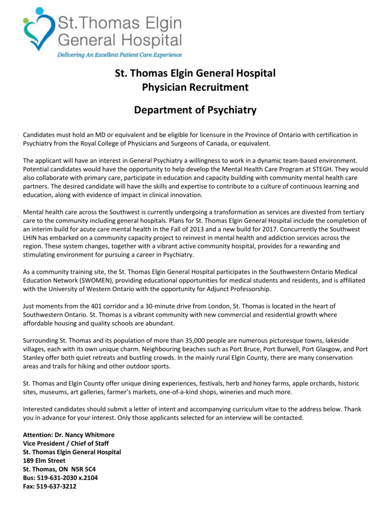 St  Thomas Elgin General Hospital Physician Recruitment