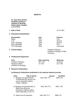 CV of Dr. Syed Alim Ahmad - University of the Punjab