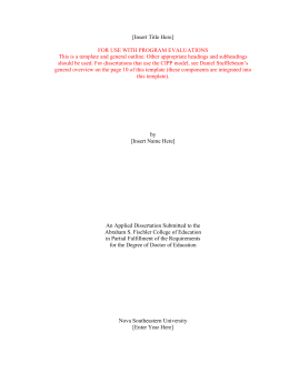 dissertation template for use with program evaluations