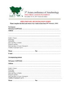 3rd Asian conference of Arachnology The First ANNOUNCEMENT