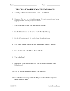 WHAT IS A JEW & BIBLICAL CIVILIZATION QUIZ