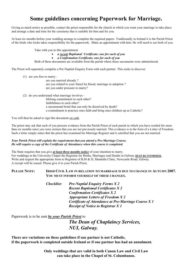 Checklist Pre Nuptial Enquiry Forms X 2