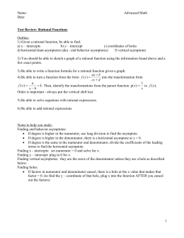 review 2 rational functions - Rational Functions Worksheet