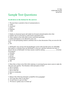 Sample Final Exam Questions S2010