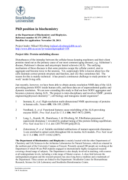 1(3) PhD position in biochemistry at the Department of Biochemistry